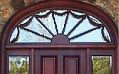 Beveled Spider Web Transom with Mahogany Door and Sidelites  |  Lincoln . Massachusetts