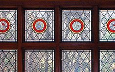Tudor House • Bay Window with Painted Medallion Transom  |  Cambridge . Massachusetts
