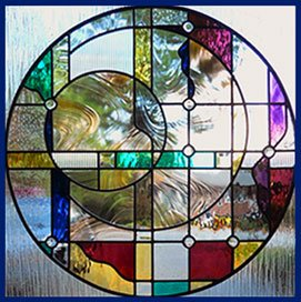 Stained Glass Window Geo Circles Contemporary