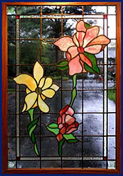 Grande Floral Stained Glass Window