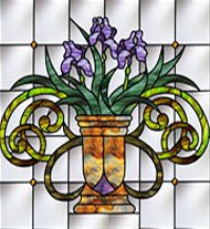 Andersen Window Jeweled Irises Stained Glass Insert