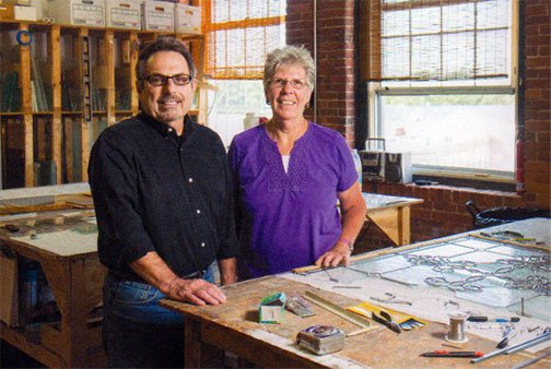 Joe and Ivy Pompei in their studio on Wester Avenue in Lowell, MA