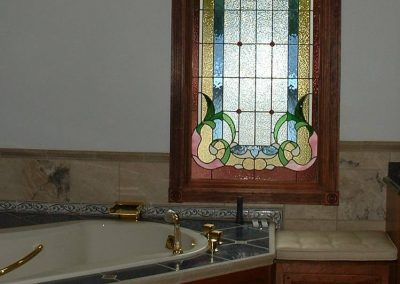 Bathroom Andersen window with stained glass